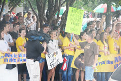 Church vs. State Rally. Demonstrators gather in Pensacola, Florida to support highschool educators on federal trial for saying grace before a meal at an adults Stock Images