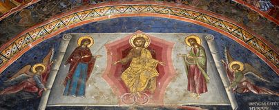 Church Wall Painting. Panoramic view of a Christian Orthodox church wall painting Royalty Free Stock Images