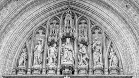 Church wall with statues. Church architecture details. Historical building in Bruxelles royalty free stock images
