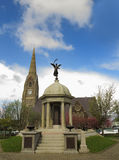 Church and war monument Royalty Free Stock Photography
