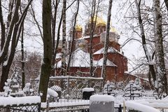 The Orthodox Old Believer Church of the Assumption of the Mother of God at Red Bugrovsky Cemetery in Nizhny Novgorod. Russia. The church was built in 1914-1916 Stock Photography