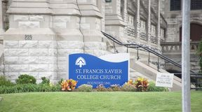 St. Francis Xavier College Church, St. Louis Missouri. The church was dedicated to Saint Francis Xavier; but, from the first, it was familiarly known as the stock image