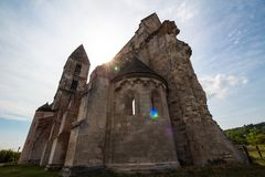 The medieval ruin church in Zsambek, Hungary, view from the sanctuary, wide viewing angle royalty free stock photo