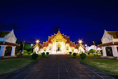 Church at Wat Benchamabophit in the sunset Royalty Free Stock Image