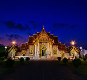 Church at Wat Benchamabophit in the sunset Royalty Free Stock Photos