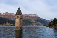 Church in the water at Lake Reschen in Tyrol in north Italy stock image