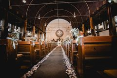 Church wedding ceremony flowers stock photos