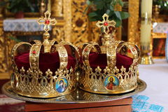 Church wedding crown. CHURCH wedding in the temple of the Lord Stock Photo