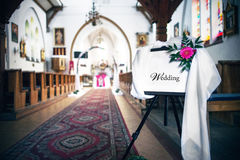 Church wedding decoration Stock Photo