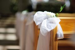 Church wedding decoration Royalty Free Stock Images