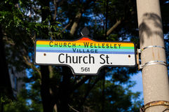 Church Wellesley Village Sign Stock Photography