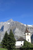 Church and Wetterhorn mountain, Switzerland Stock Image