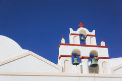 Church. White architecture of Oia village on Santorini island, Greece Stock Images