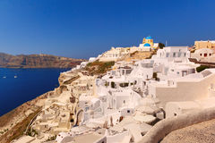 Church and white houses, Oia, Santorini, Greece Stock Photos