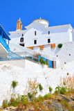 Church with white walls in Chora on Skopelos island, Greece Royalty Free Stock Photo