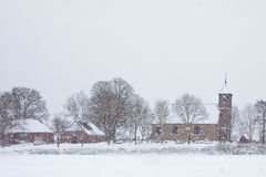 Church in a white winter landscape Royalty Free Stock Photos