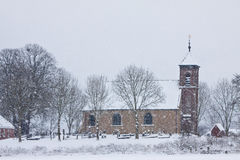 Church in a white winter landscape Royalty Free Stock Image