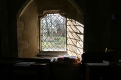Church Window. The interior of a Yorkshire Church stock image