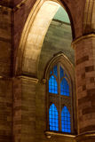 Church window. Night shot of a Gothic church window in Montreal stock image