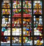 Church window. Stained glass window in catholic church in Antwerpen Stock Images