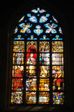 Church window. Stained glass window in catholic church in Antwerpen Stock Image