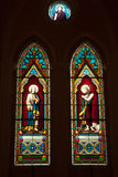 Church window with different colors . Stock Photos