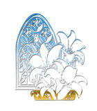 Church Window Easter Lillies. Church Window and Easter Lillies Illustration with Working Path Royalty Free Stock Photos