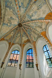 Church windows. Windows inside a church with frescos on the ceiling Stock Photos