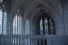 Church windows in chateau de vincennes royalty free stock photos