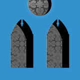 Church windows in simple cartoon drawing style Royalty Free Stock Photo