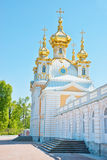 Church wing of grand palace in petrodvorets Royalty Free Stock Images