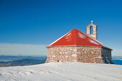 Church in winter. Church surrounded in snow in morning time Royalty Free Stock Photos
