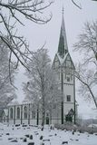 Church in winter. Old Norwegian church in snowy weather Royalty Free Stock Photo