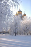 Church in the winter. Afternoon Royalty Free Stock Images