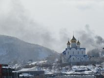 Church in winter. beautiful church of frosty winter day. Kamchatka, Russia royalty free stock image