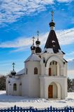 Church in winter. In clear weather and blue sky Stock Image