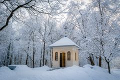Church in winter forest. Small church in winter park with frost on trees. Saint-Petersburg, Russia Stock Photo