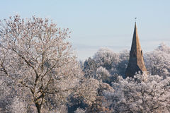 Church in a winter landscape Royalty Free Stock Image