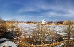 Church winter landscape with broken ice Royalty Free Stock Image