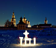 Church winter landscape  christian iron cross Royalty Free Stock Photography