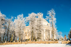 Church in winter. Lithuania, Suderve town Royalty Free Stock Images