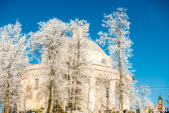 Church in winter. Lithuania, Suderve town Royalty Free Stock Photo