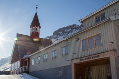 Church in winter in Longyearbyen, Spitsbergen (Svalbard). Norway. A city details of Longyearbyen - the most Northern settlement in the world. Spitsbergen ( royalty free stock photos