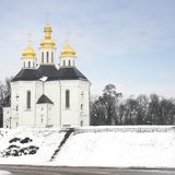 Church in the winter park stock image