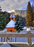 Church in winter scene Royalty Free Stock Photography
