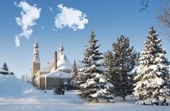 Church winter scene in Saint-Eustache. The City of St. Eustache in Quebec, Canada is best known for its historical heritage and architectural heritage.Beautiful stock image