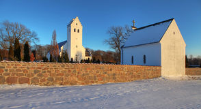 Church winter snow denmark Stock Photos