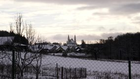 Church winter in village. Very good video stock video footage