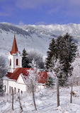 Church in wintry landscape Royalty Free Stock Image