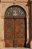 Church Woodcraft. This early 18th century church door is a good example of the skilled handiwork of that time in Germany Royalty Free Stock Image